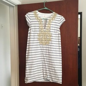 Striped Summer Dress with Gold Embellishment
